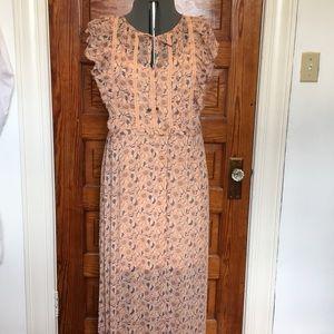 Flower Print Lace Ruffle Maxi Dress